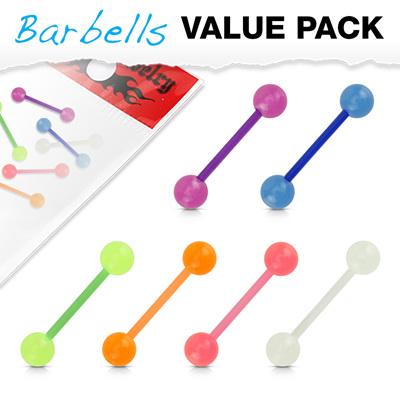 6 Pcs Bio Flex Barbells w/ Glow in the Dark Balls