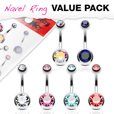 6 Pcs Value Pack Double Jeweled Surgical Steel Navel Rings