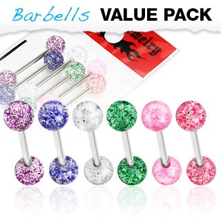 6 Pcs Value Pack w/ Glitter UV Ball