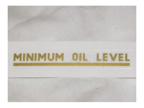 60-0003 Minimum Oil Level Decal - Triumph - British Motorcycle Parts Auckland NZ