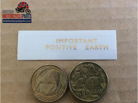 60-0052 Important Positive Earth Decal - Triumph - British Parts - Auckland NZ