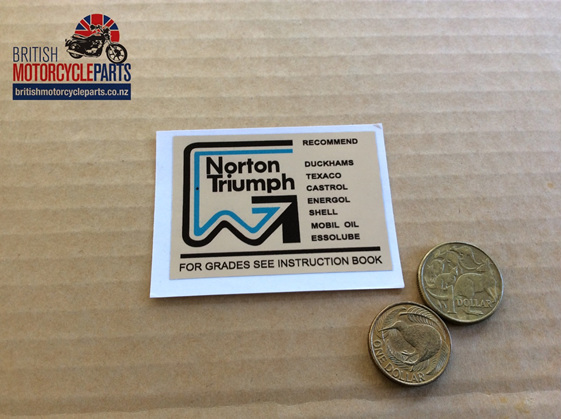 60-1816 Decal - Oil Change Recommendations - T160 - British Motorcycle Parts NZ