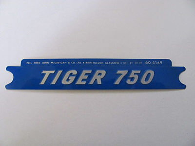60-4169 Tiger 750 Side Cover Badge - Silver/Blue
