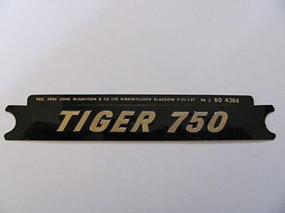 60-4384 Tiger 750 Side Cover Badge - Gold/Black