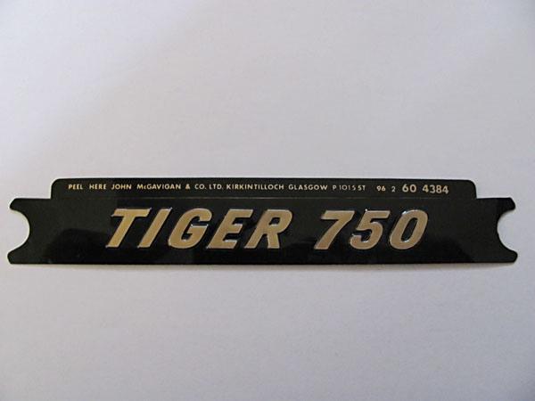60-4384 Tiger 750 Side Cover Badge Gold on Black NOS