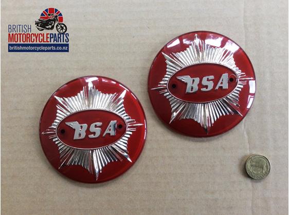 65-8228 BSA Gold Star Tank Badges - Red & Gold - British Motorcycle Parts NZ
