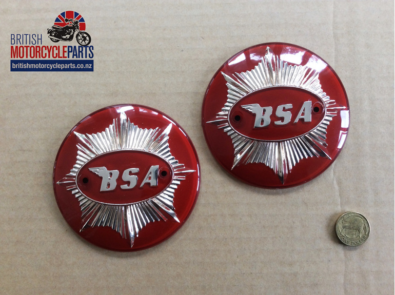 65-8228 BSA Gold Star Tank Badges - Red & Gold - British Motorcycle Parts NZ