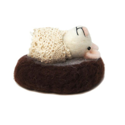 6cmh Xmas Wool Decoration-Sleeping Goat