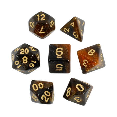 7 Amber & Black with Gold Stardust Dice