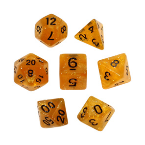7 Amber Glitter Polyhedral Dice with Black Games and Hobbies New Zealand NZ
