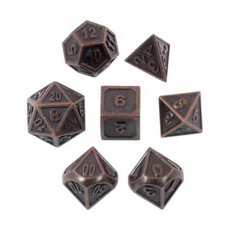 7 'Antique Bronze' Modern Metal Dice