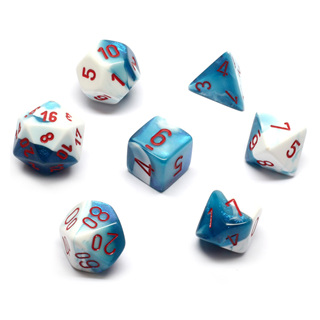 7 Astral Blue & White with Red Gemini Dice