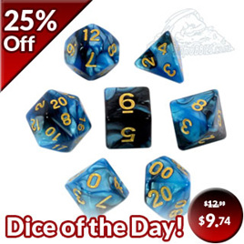 7 Black & Blue with Gold Fusion Dice