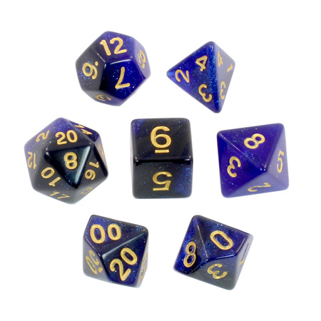 7 Black & Blue with Gold Stardust Dice