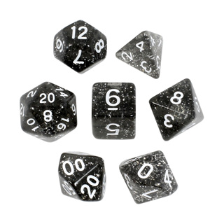 7 Black with White Glitter Dice