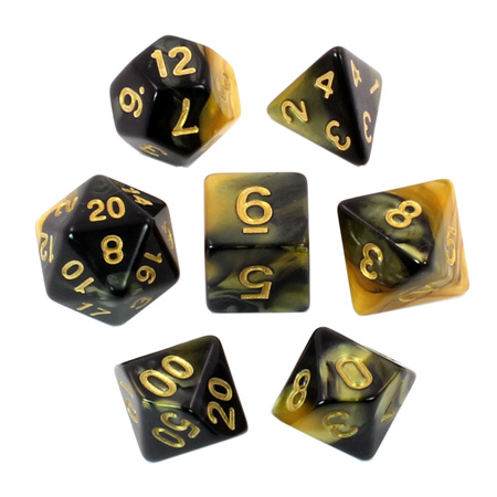 7 Black & Gold with Gold Fusion Dice