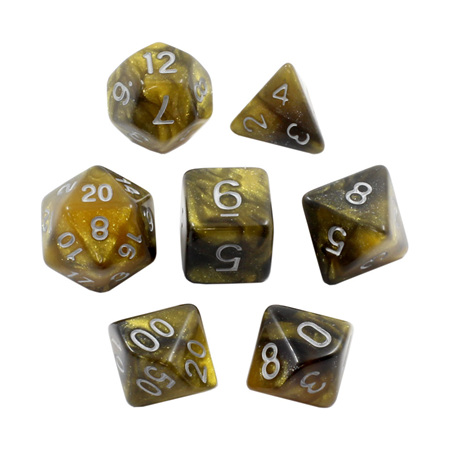 7 Black & Gold with Silver Starlight Dice
