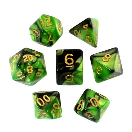 7 Black & Lime with Gold Fusion Dice
