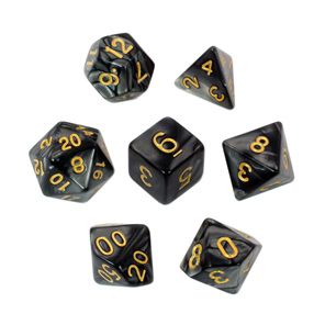 7 Black Marbled Polyhedral Dice with Gold Numbers Games and Hobbies NZ