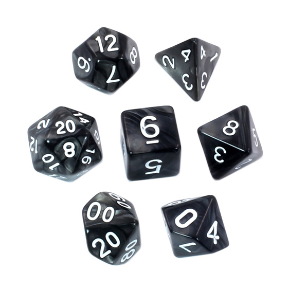 7 Black Marbled Polyhedral Dice with White Numbers Games and Hobbies NZ