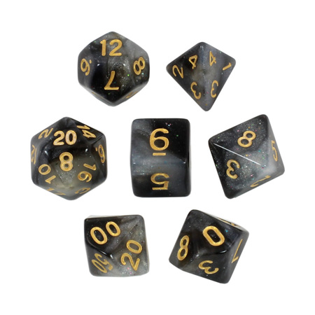 7 Black & Pearl with Gold Stardust Dice