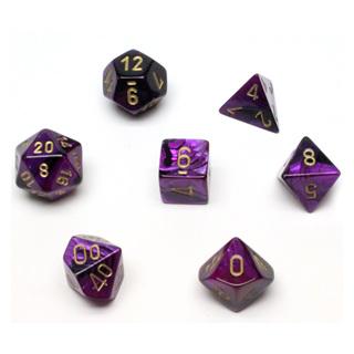 7 Black & Purple with Gold Gemini Dice
