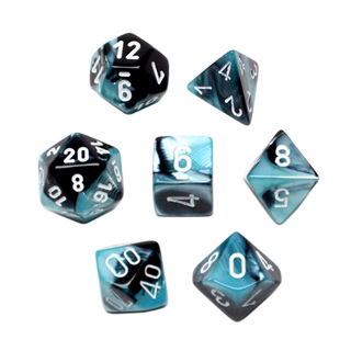 7 Black & Shell with White Gemini Dice