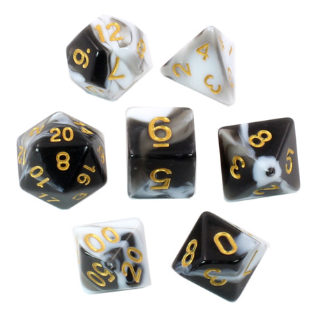7 Black & White with Gold Fusion Dice