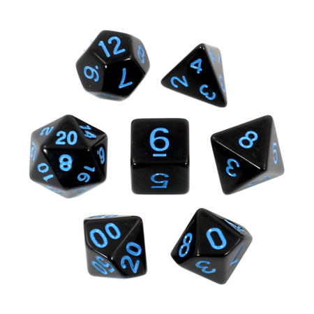7 Black with Blue Standard Dice