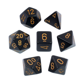 7 Black with Gold Opaque Dice