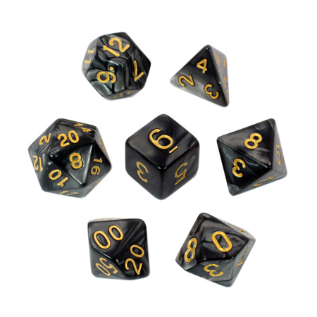 7 Black with Gold Marble Dice