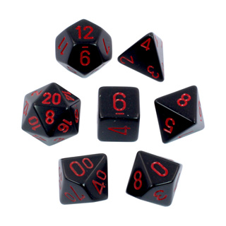 7 Black with Red Opaque Dice