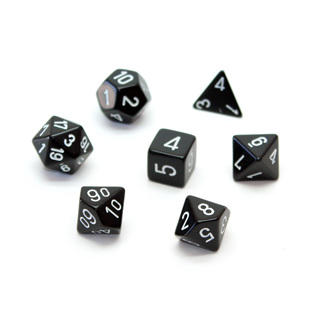 7 Black with White Opaque Dice