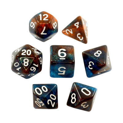 Blue & Copper with White Translucent Stardust Dice