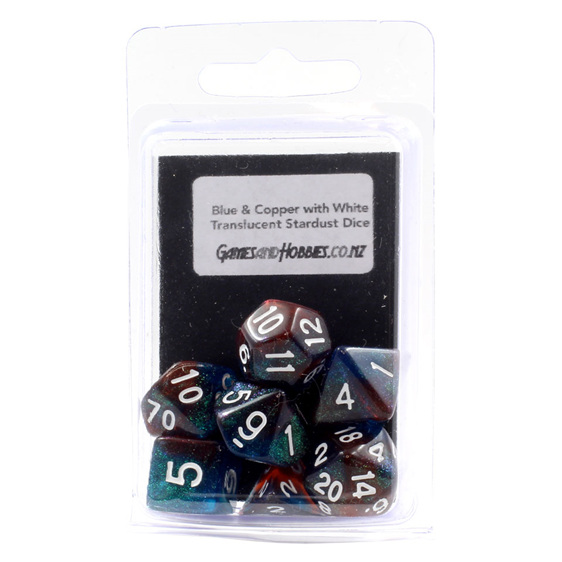 7 Blue and Copper with White Translucent Starlight Dice Games and Hobbies NZ