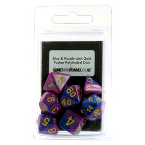 7 Blue and Purple Polyhedral Dice with Gold Numbers Games and Hobbies NZ