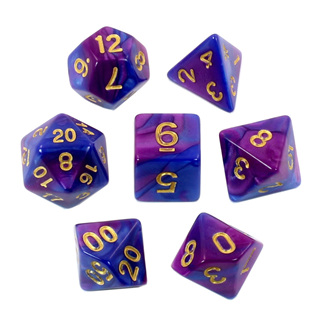 7 Blue & Purple with Gold Fusion Dice