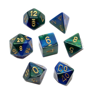 7 Blue & Green with Gold Gemini Dice