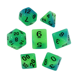 7 Blue & Green Glow in the Dark Dice