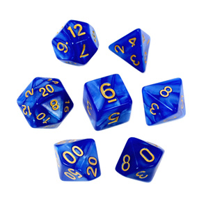 7 Blue Marbled Polyhedral Dice with Gold Numbers Games and Hobbies NZ