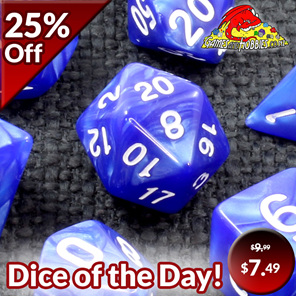 7 Blue Marbled Polyhedral Dice with White Numbers Games and Hobbies NZ