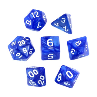 7 Blue with White Marble Dice