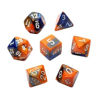 7 Blue & Orange with White Gemini Dice