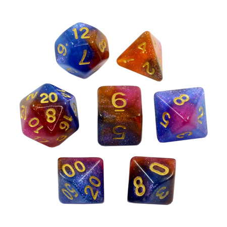 7 Blue, Orange & Pink with Gold Stardust Dice