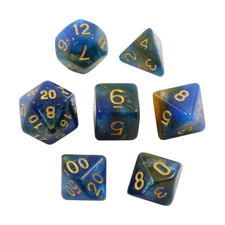 7 Blue & Orange with Gold Stardust Dice