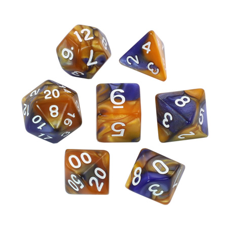 7 Blue & Orange with White Fusion Dice