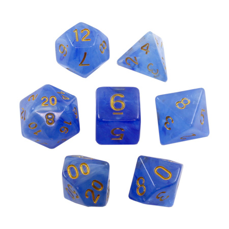7 Blue Pastel with Gold Vapour Dice