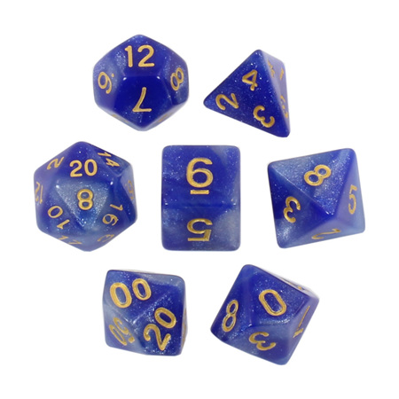 7 Blue & Pearl with Gold Starlight Dice