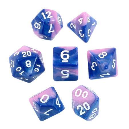 7 Blue & Pink with White Fusion Dice