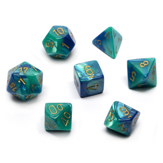 7 Blue & Teal with Gold Gemini Dice